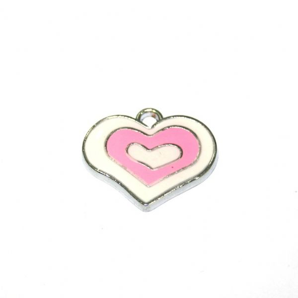 1pce x 21*18mm rhodium plated pink double heart enamel charm - SD03 - CHE1141